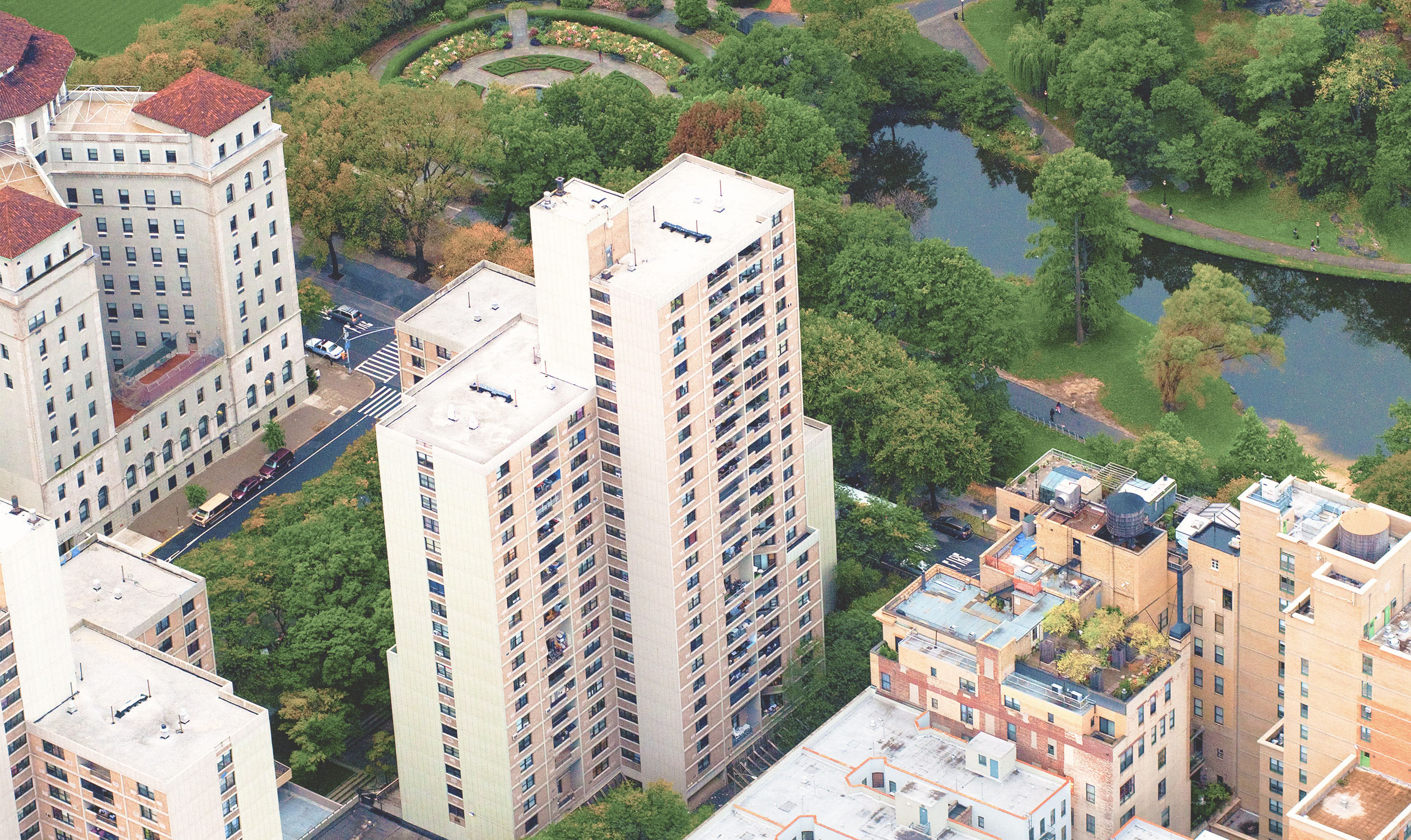 An aerial view of Lakeview Apartments overlooking Central Park.