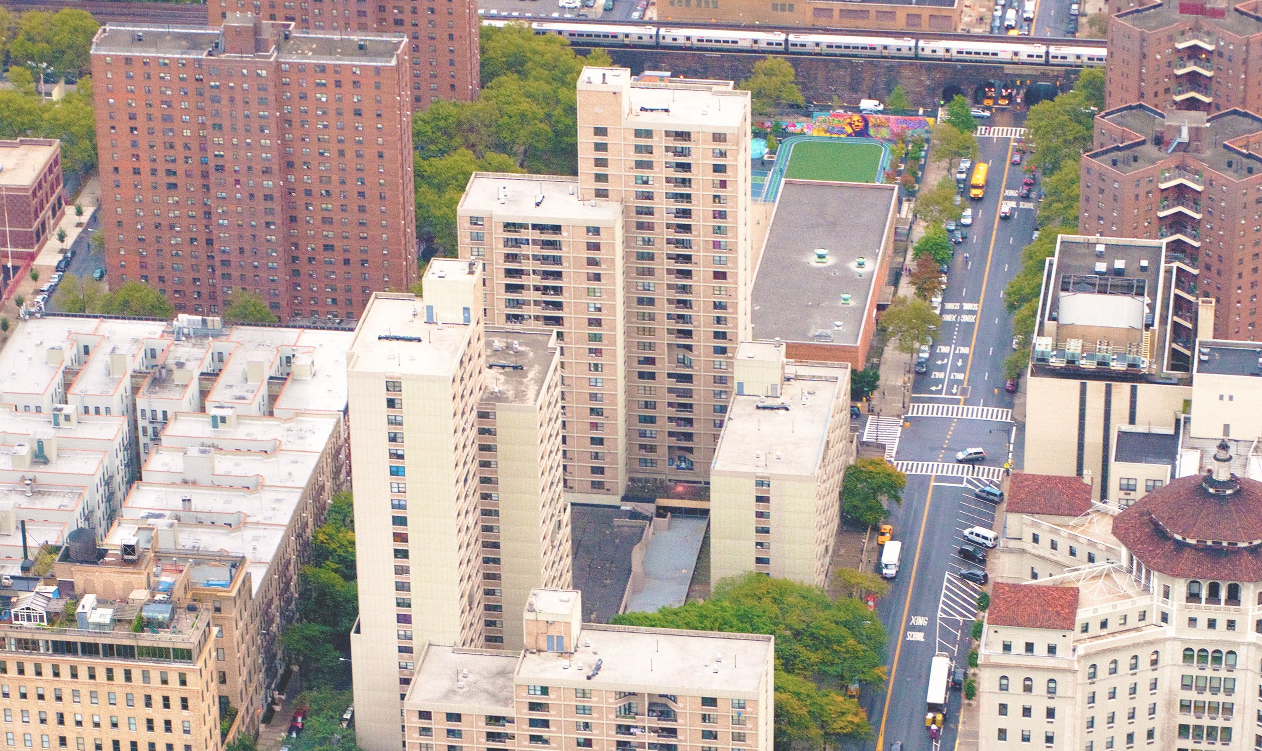 An aerial view of Lakeview Apartments looking East