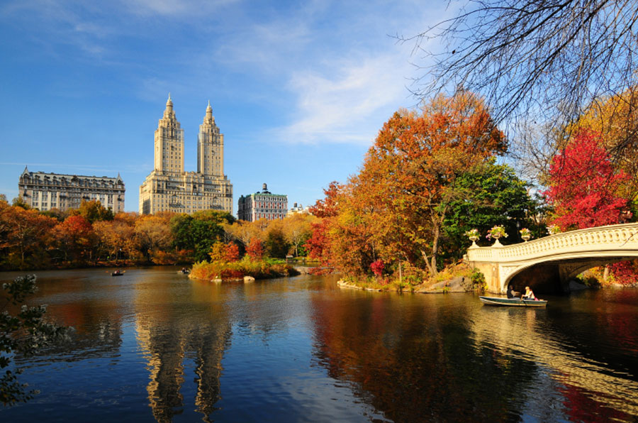 A photo looking across Central Park Lake, in New York City.